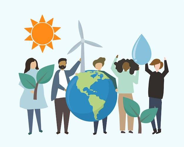 Ludzie z odnawialnymi źródłami energii ilustracyjnymi