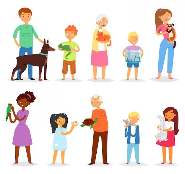 Ludzie z pieścić kobieta lub mężczyzna i dzieci bawiące się postaciami zwierząt kot pies lub szczeniak ilustracja zestaw dziewczyna dziewczyna lub chłopak z żółwia lub papugi na białym tle