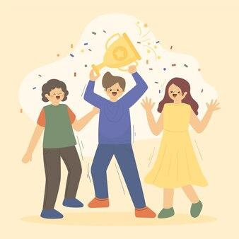 Ludzie z płaskiej dłoni świętujący osiągnięcie celu