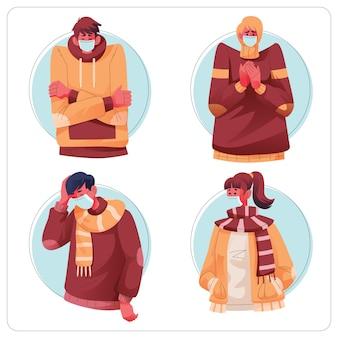 Ludzie z przeziębieniem i noszący medyczną maskę