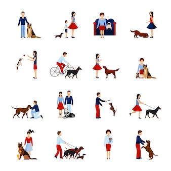 Ludzie z psami ustawionymi