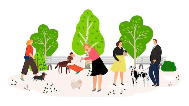 Ludzie z psami w płaskiej ilustracji parku. zwierzęta i właściciele spędzają razem czas na białym tle. samce i samice postaci z kreskówek ze zwierzętami domowymi.