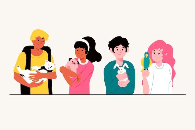 Ludzie z różnorodnością zwierzę domowe ilustraci pojęciem