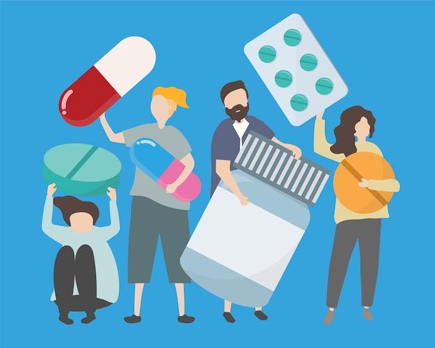 Ludzie z różnorodnymi lekami i pigułkami ilustracyjnymi