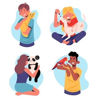 Ludzie z różnych koncepcji zwierząt