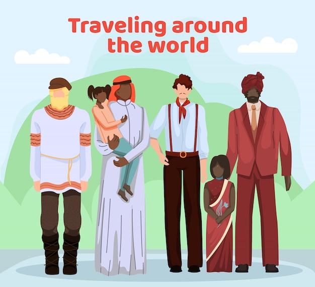 Ludzie z różnych krajów w odzieży narodowej.