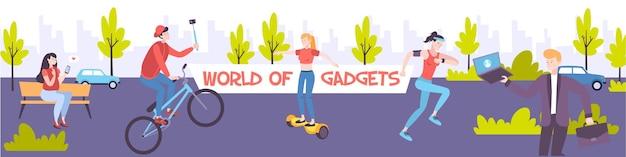 Ludzie z różnymi gadżetami, takimi jak smartfon laptop fitness zespół selfie stick na zewnątrz płaski baner ilustracja,