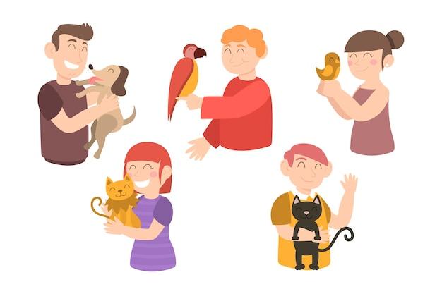 Ludzie z różnymi motywami zwierząt domowych