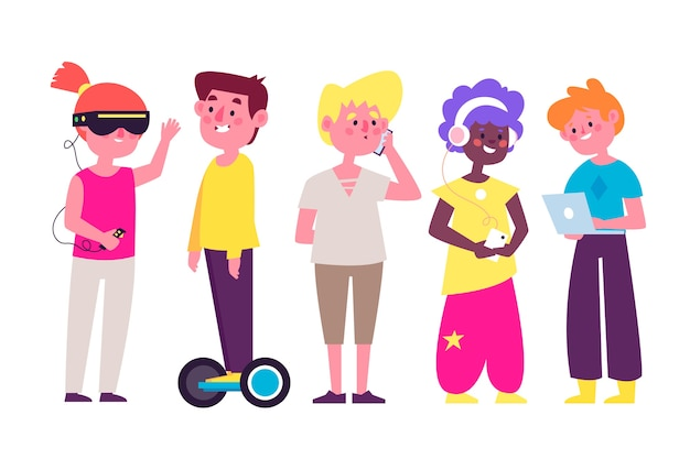 Ludzie z różnymi urządzeniami