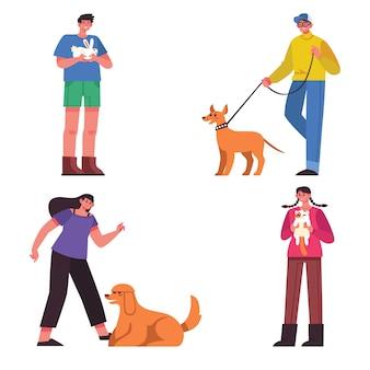 Ludzie z różnymi zwierzętami domowymi ilustracyjnymi