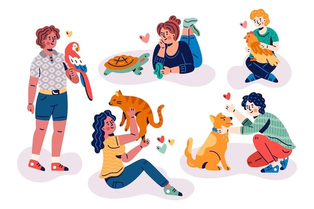 Ludzie z różnymi zwierzętami domowymi ilustrowali pojęcie