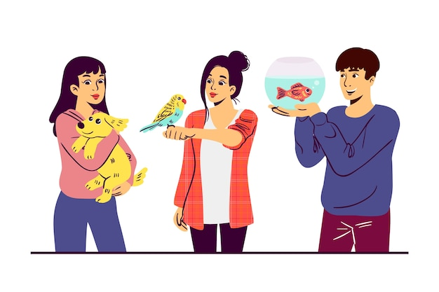 Ludzie z różnymi zwierzętami ilustrowali projekt