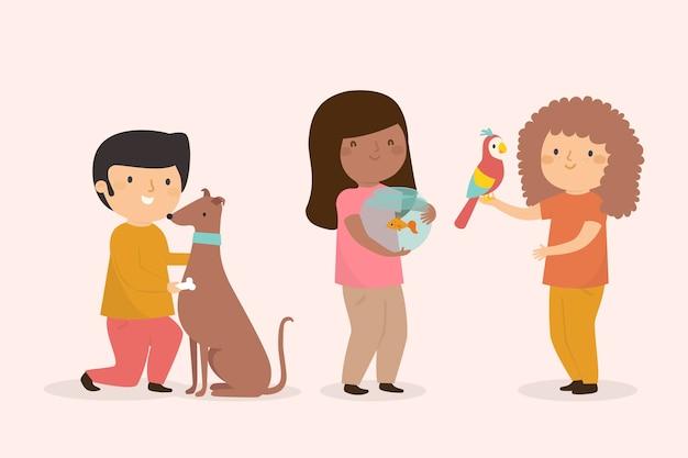 Ludzie z różnymi zwierzętami ilustrowany motyw