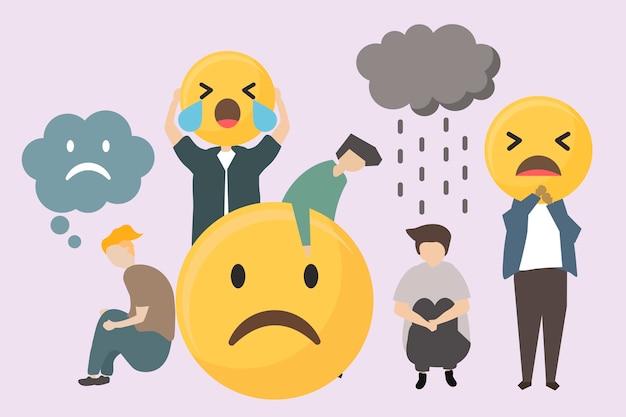Ludzie z smutną i gniewną emoja ilustracją