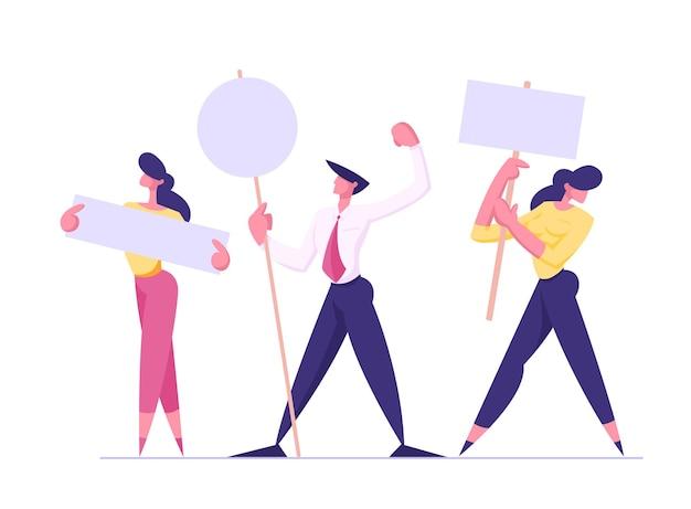Ludzie z tabliczkami na ilustracji demonstracyjnej