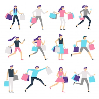 Ludzie z torbami na zakupy. zakupoholiczka i podekscytowana kobieta niosąca torbę. szczęśliwi ludzie kupują prezenty na sprzedaż wektor zestaw znaków