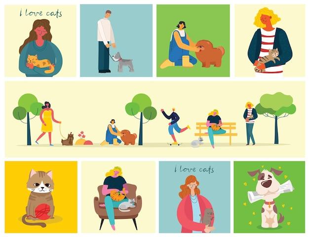 Ludzie z uroczymi psami i kotami w stylu płaski