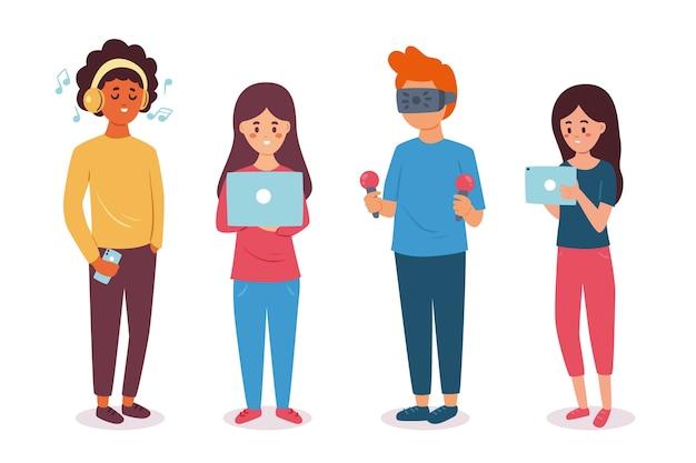 Ludzie z urządzeniami technologicznymi