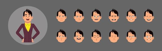 Ludzie z ustawionymi emocjami twarzy. różne emocje twarzy do niestandardowej animacji, ruchu lub projektowania.