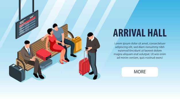 Ludzie z walizkami czekają na izometryczny baner hali przylotów stacji kolejowej