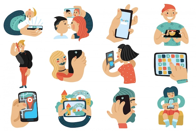 Ludzie z zestawami telefonów komórkowych