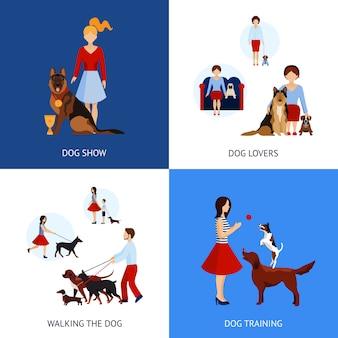 Ludzie z zestawem psów