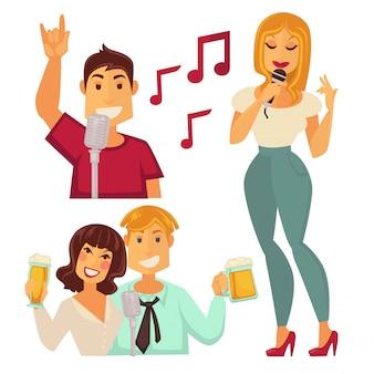 Ludzie zabawne w barze karaoke na białym tle. para