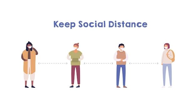 Ludzie Zachowujący Dystans Społeczny Premium Wektorów