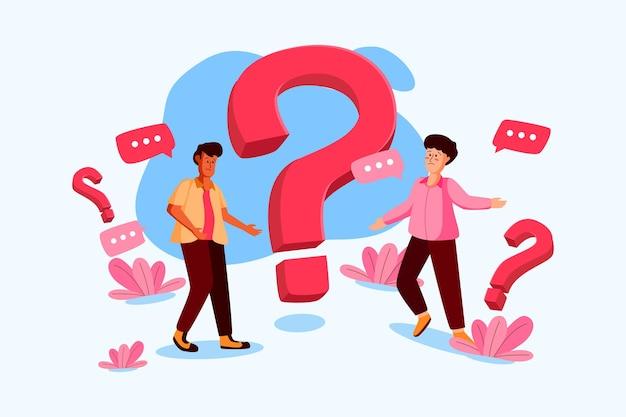 Ludzie zadający pytania ilustracja w stylu płaski
