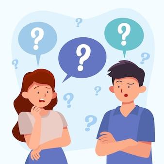 Ludzie zadający pytania płaska ilustracja