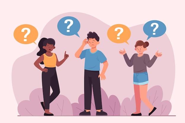 Ludzie zadający pytania płaska konstrukcja