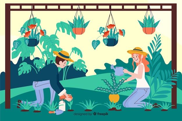 Ludzie zajmujący się roślinami