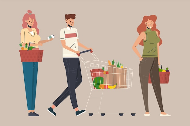 Ludzie zakupy koncepcja artykułów spożywczych