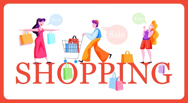 Ludzie zakupy koncepcja baneru internetowego. kolekcja osoby z torbą. duża wyprzedaż i rabat. wesoły kupujący. ilustracja w stylu kreskówki
