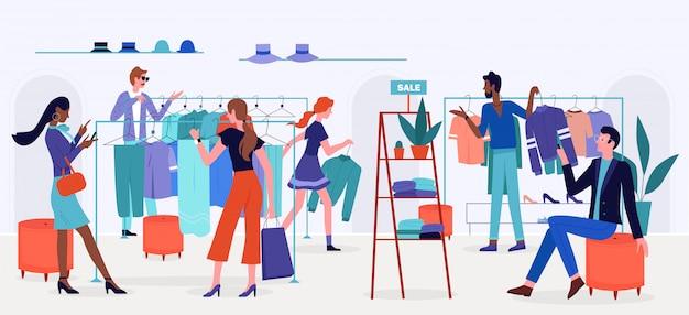 Ludzie zakupy na ilustracji sprzedaży. postacie z kreskówek płaskich mężczyzn i kobiet kupują ubrania i akcesoria w sklepie detalicznym, sklepie lub wnętrzu butiku, tło salonu mody w nowoczesnym stylu
