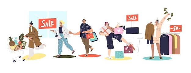 Ludzie zakupy podczas koncepcji sprzedaży. postaci z kreskówek kupują artykuły spożywcze i ubrania po obniżonej cenie. mężczyźni i kobiety z torbami na zakupy i wózkiem. płaska ilustracja wektorowa