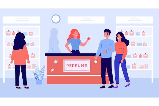 Ludzie zakupy w sklepie perfumy ilustracja wektorowa płaski. młoda dziewczyna patrząc na gablotę, podczas gdy szczęśliwa para rozmawia ze sprzedawczynią w pobliżu lady. zapach, aromat, zakupy, moda, koncepcja kosmetyczna