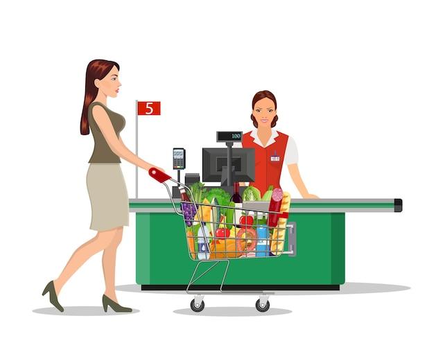 Ludzie zakupy w supermarkecie.