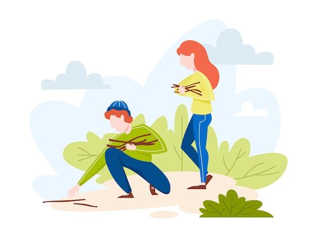 Ludzie zbierają gałęzie lub gałązki w lesie