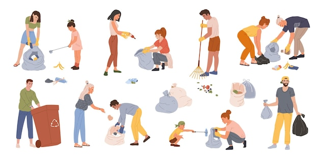 Ludzie zbierają śmieci mężczyźni, kobiety i dzieci zbierają śmieci w pojemnikach lub torbach wektor zestaw