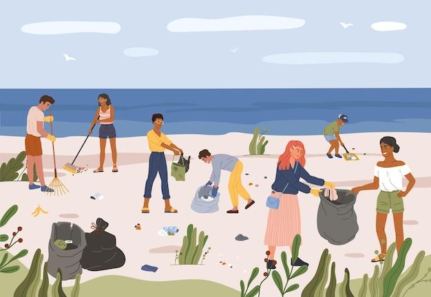 Ludzie zbierający śmieci na plaży mężczyźni i kobiety zbierający odpady z tworzyw sztucznych w workach na śmieci image