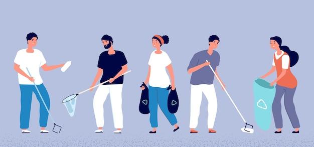 Ludzie zbierający śmieci. wolontariusze sprzątający przyrodę. ekologia i czysty wektor planety. ilustracja śmieci i śmieci, sprzątanie ludzi