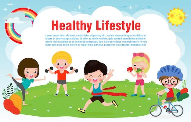 Ludzie zdrowego stylu życia, szczęśliwe dzieci ćwiczą pozy i sztandar asana jogi