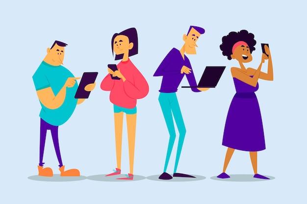 Ludzie ze smartfonami i laptopami