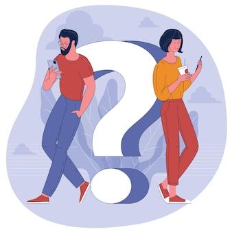 Ludzie ze smartfonami i znakiem zapytania. płaska konstrukcja koncepcji często zadawanych pytań i szablonu transparent infolinii.