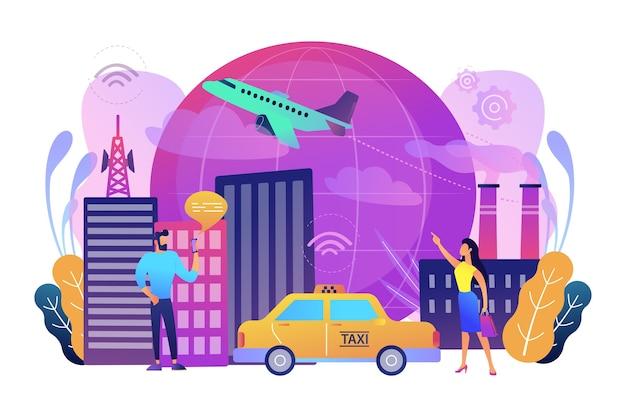 Ludzie ze smartfonami w pobliżu nowoczesnych obiektów podłączonych do globalnej sieci internetowej za pomocą znaków wi-fi
