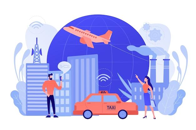 Ludzie ze smartfonami w pobliżu nowoczesnych obiektów połączonych z globalną siecią internetową za pomocą znaków wi-fi. internet rzeczy, infrastruktura iot i koncepcja inteligentnego miasta. ilustracji wektorowych
