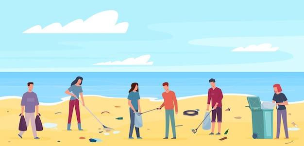 Ludzie ze śmieciami na plaży. współpraca wolontariuszy sprzątających odpady na wybrzeżu oceanu lub morza, zbieranie plastikowych śmieci, koncepcja ochrony środowiska płaskiego wektora