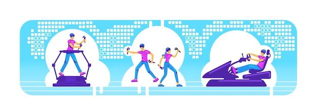 Ludzie ze sprzętem vr, baner internetowy 2d, zestaw plakatów. gracz z urządzeniami ar płaskie postaci na tle kreskówki. symulator rozrywki. gracz z technologią kolorową sceną