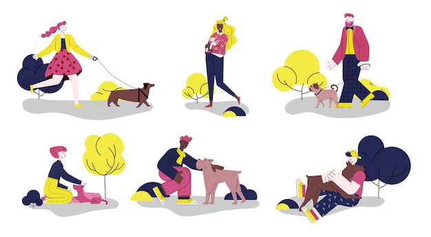 Ludzie ze zwierzętami na spacer na zewnątrz płaska ilustracja kreskówka